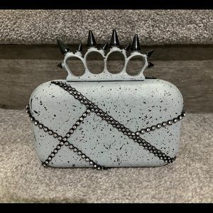 Gray Spiked Clutch